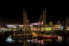 Harbor area by night, Barcelona Stock Image
