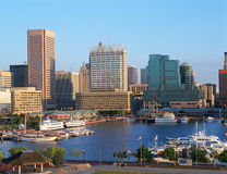 Harbor and Baltimore, MD skyline stock image