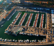 Harbor in Barcelona. Aerial view of boats in harbor in Barcelona Royalty Free Stock Images