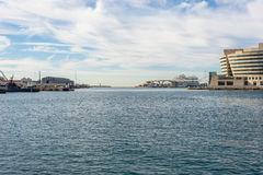 The harbor of Barcelona, the marina Port Vell. Royalty Free Stock Images