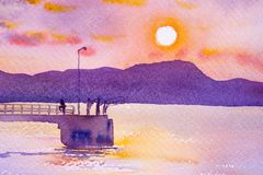 Harbor and the beautiful sea in the sunset atmosphere. Watercolor painting seascape colorful of sun and the fisherman with tourists walking on the port between Royalty Free Stock Photos