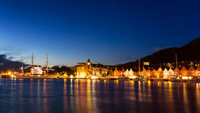 Harbor of Bergen during the blue hour Stock Image