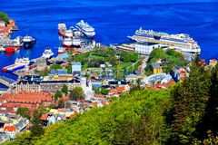 Harbor of Bergen and cruise liners at port Royalty Free Stock Images