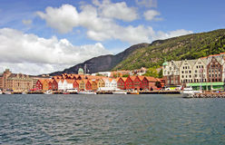 Harbor of Bergen with the old Bryggen (Norway). Harbor of Bergen with the old Bryggen in Norway Stock Photos