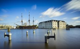 Harbor with blue sky and tall boat  Royalty Free Stock Photos