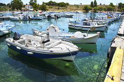 Harbor with boats in Aegean sea Greece Royalty Free Stock Images