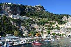 Harbor with Boats Along the Amalfi Coast Stock Images