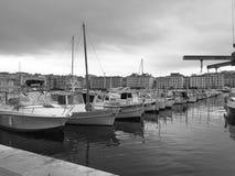 Harbor. Boats mooring in a harbor Stock Photos