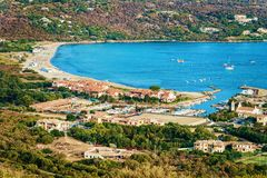Harbor at Porto Rotondo Costa Smeralda Sardinia. Harbor with boats at Porto Rotondo in Golfo Aranci, Costa Smeralda resort on Mediterranean sea, Sardinia, in stock photo