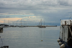 Harbor with boats after rain in Porec in Croatia. Royalty Free Stock Image