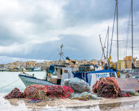 Harbor, boats and waterfront in Trapani, Sicily Royalty Free Stock Photos