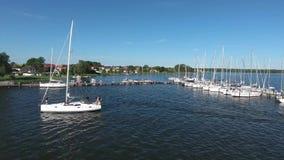 Harbor of Breege on Ruegen Island at Baltic Sea. Sailing boat stock video