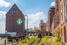 Harbor of Bremen, west of the city - industrial quarter Stock Images