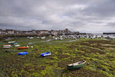 Harbor in Bretagne at low tide time. In a cloudy day stock photos