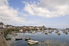 Harbor in Bretagne at low tide time Stock Photography