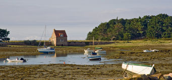 Harbor in Bretagne at low tide time Royalty Free Stock Photos