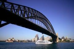 Harbor Bridge. Sydney Harbor Bridge with ferry boat on sunny day Stock Images