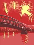 Harbor bridge with fireworks Royalty Free Stock Photo