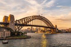 Harbor Bridge at sunset in Sydney stock photo