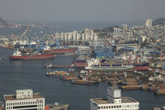 Harbor, Busan, S. Korea. View from the observation tower of the Busan Harbor with freighters docked Royalty Free Stock Photos
