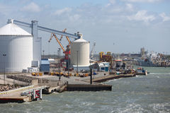 Harbor Calais with carriers and storage silo`s Royalty Free Stock Photography