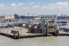 Harbor Calais With Trucks Waiting For Embarking At Ferry England Stock Images