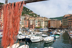 Harbor in Camogli. The port of Camogli, fomous smal town in Liguria, Italy Stock Images