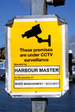 Harbor CCTV. Harbour Masters CCTV sign Stock Photos