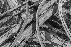 Harbor and Century Freeway Interchange in Los Angeles Black and. Harbor 110 and Century 105 freeway interchange aerial south of downtown Los Angeles in black and Stock Photo