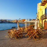 Harbor in Chania, Greece. Morning view of old harbor in Chania, Greece Stock Images
