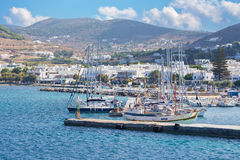 The harbor in Chora town on the Ios island in the Aegean Sea (Greece). Stock Image