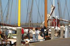 In the harbor of the citty of Harlingen. Netherlands, Harlingen,-june 2016: Ships moored in the port Stock Images