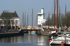 In the harbor of the citty of Harlingen. Netherlands, Harlingen,-june 2016: Ships moored in the port Stock Image