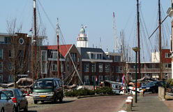 In the harbor of the citty of Harlingen. Netherlands, Harlingen,-june 2016 street-view Royalty Free Stock Photo