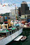 Harbor in the City. This is a boat anchored in Halifax, Nova Scotia Royalty Free Stock Photo