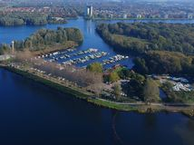 Harbor in the city of Almere. Aerial drone shot harbor in the city of Almere stock images