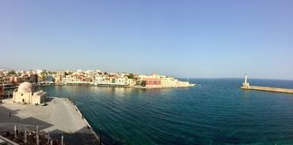 The harbor of the city chania stock photos