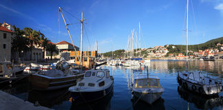 Harbor in the city of Jelsa. Royalty Free Stock Photography