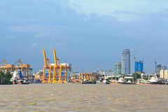 Harbor. City with a river transport by ship Stock Image