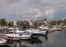 Harbor in Cobourg, Ontario. Harbor with boats in Cobourg, Ontario Stock Images