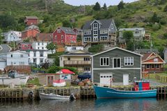 Petty Harbour in Newfoundland. Harbor and colorful historic fishing village in Petty Harbour, Newfoundland and Labrador royalty free stock photography