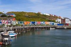 Harbor con le capanne variopinte di pesca - Heligoland/Helgoland fotografia stock libera da diritti