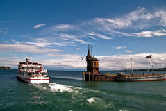 Harbor Constance. Ferry leaving harbor in Constance Royalty Free Stock Photos