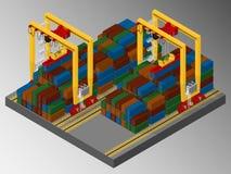 Harbor container gantry crane. Stock Photo