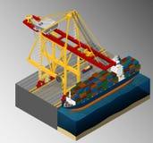 Harbor container gantry crane. stock illustration