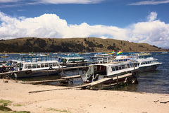 Harbor of Copacabana, Bolivia Royalty Free Stock Photo