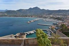 Harbor of the Corsican coastal town Calvi Stock Photography
