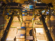 Harbor crane being Loading on container ship in warehouse port a Royalty Free Stock Photo