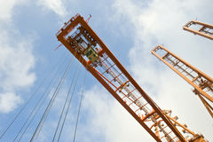 Harbor crane from below royalty free stock photography