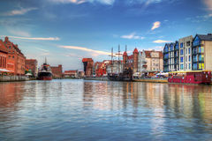 Harbor with crane in old town of Gdansk Stock Images